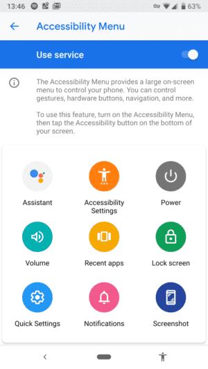 Ponuka dostupnosti pre Android Pie