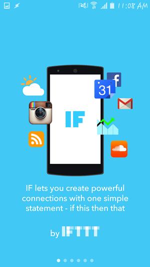 Uvítacia obrazovka IFTTT