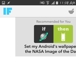 Hlavné rozhranie IFTTT