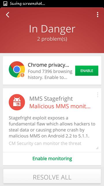 Zabezpečenie CM Security Antivirus a AppLock - mms stagefreight