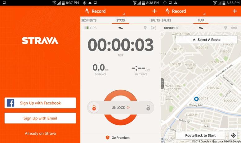 Strava - spustené aplikácie pre Android