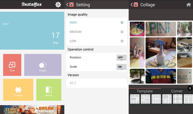 Aplikácia koláže Instabox pre Android