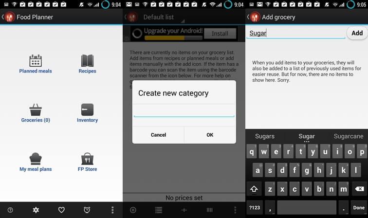 Aplikácie na zoznam potravín pre plánovač potravín pre Android