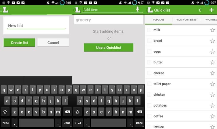 Listonické aplikácie pre zoznam potravín pre Android