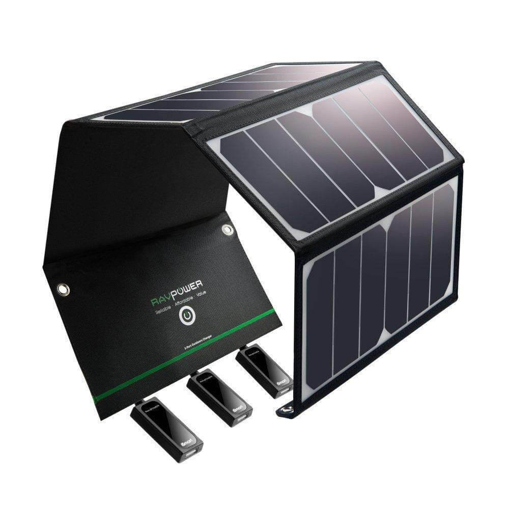 Prenosná solárna nabíjačka RAVPower 24 W s 3 USB porty