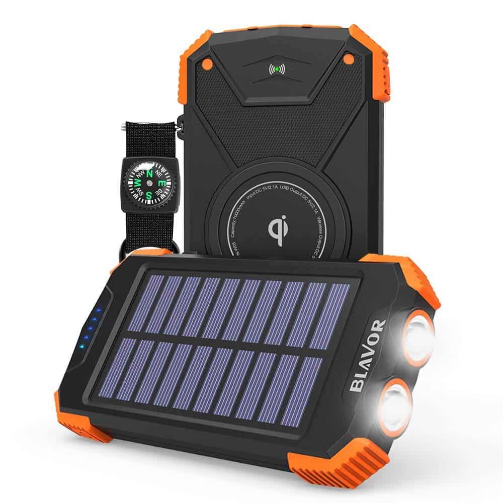Prenosná solárna nabíjačka BLAVOR Qi 10 000 mAh