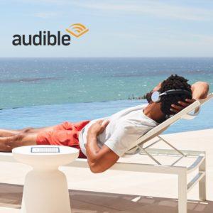 Kindle  Oasis E-Reader čítajúca knihu so zvukom