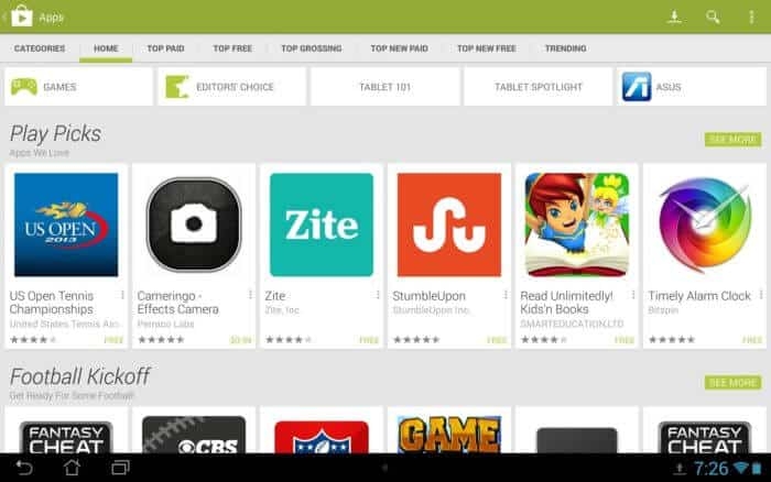 Google Play Store  na tablete