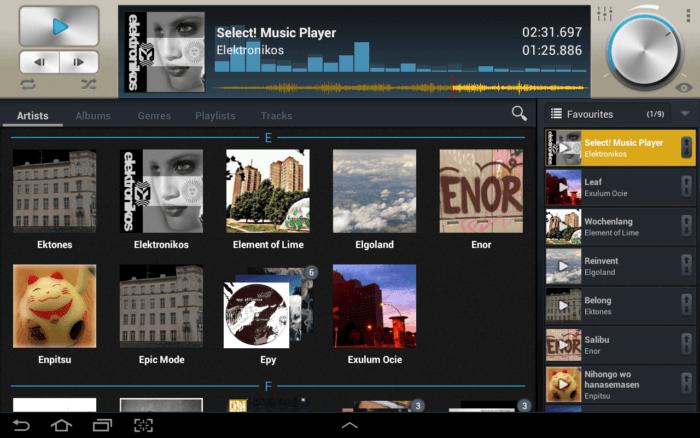 Vyberte prehrávač hudby na tablete