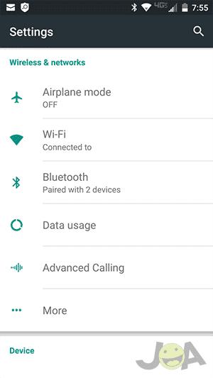 Menu Bluetooth