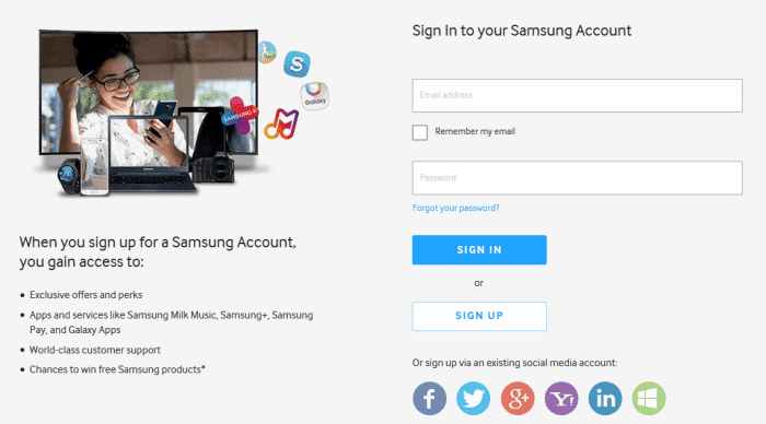 účet Samsung