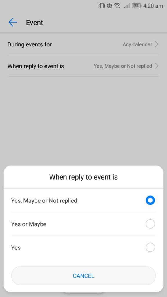 nerušiť pozvánku na udalosť odpovede systému Android
