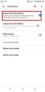 Zapnite prístup pomocou funkcie Voice Match
