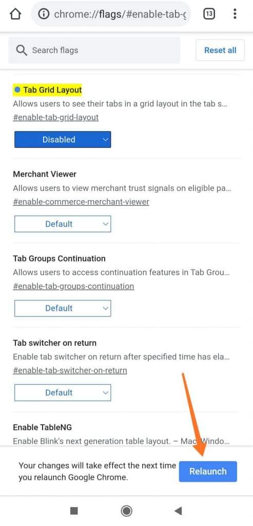 Ako zakázať skupiny kariet v prehliadači Chrome v systéme Android 2
