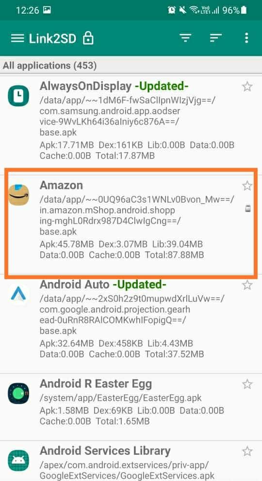 zoznam aplikácií v aplikácii Link2SD