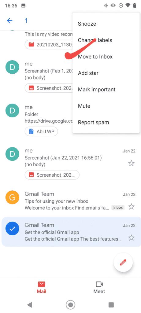 Presuňte poštu do doručenej pošty