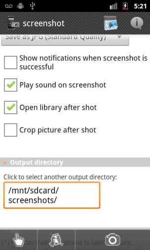 Možnosti snímky obrazovky
