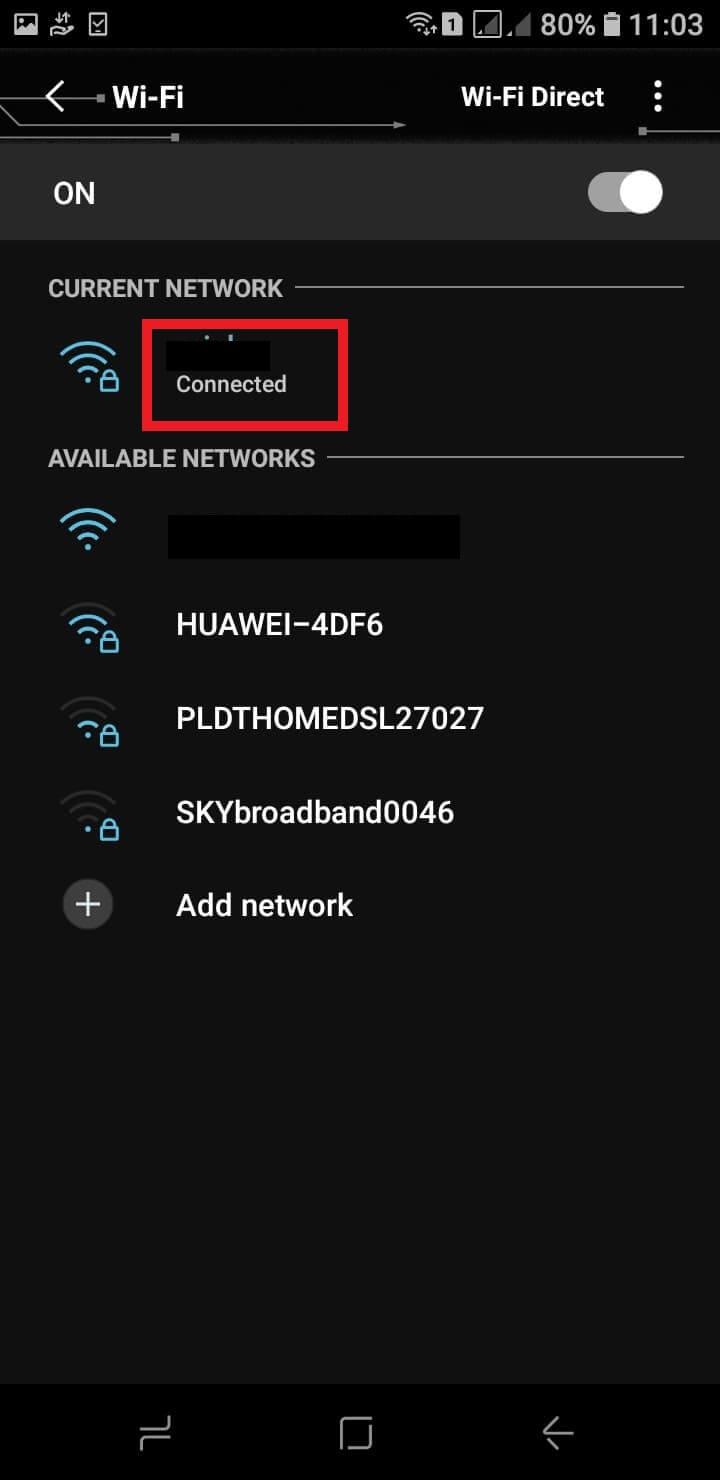 vyhľadajte aktuálne sieťové pripojenie
