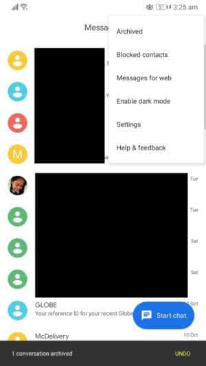 """Ak chcete v systéme Android skryť správy SMS, vyberte v aplikácii na odosielanie správ """"archivované"""""""