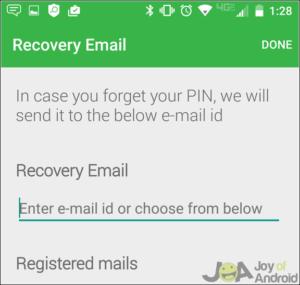 Ako skryť SMS v systéme Android - nastavenie e -mailu na obnovenie