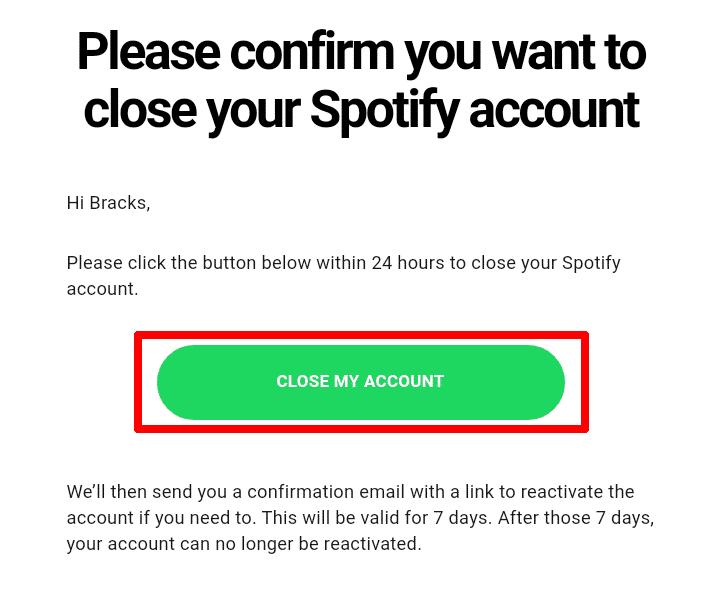 E -mail od Spotify na zrušenie vášho účtu