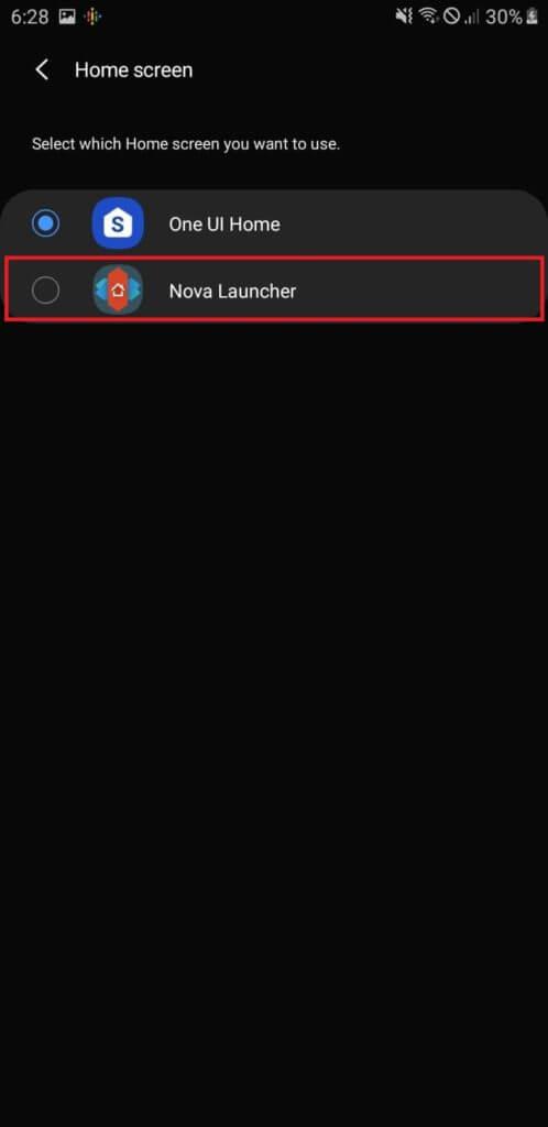 Nastavenie Android Launcheru - zvoľte Nova Launcher