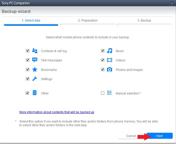 Zálohujte aplikáciu PC Companion
