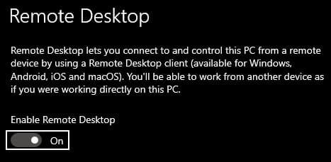povoliť vzdialenú plochu windows 10 počítač