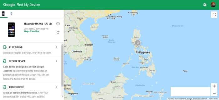 Rozhranie Google Find My Device s Mapami Google