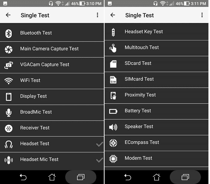 Snímka obrazovky ponuky Asus Single Test
