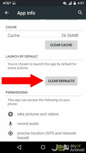 Vymazať predvolenú aplikáciu