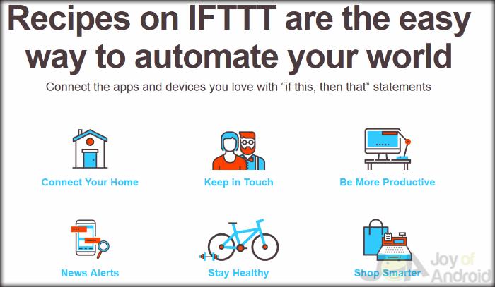 Používa domovskú stránku IFTTT