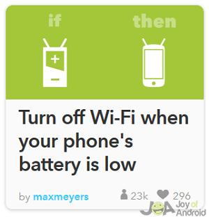 wifi vypnutá batéria ifttt