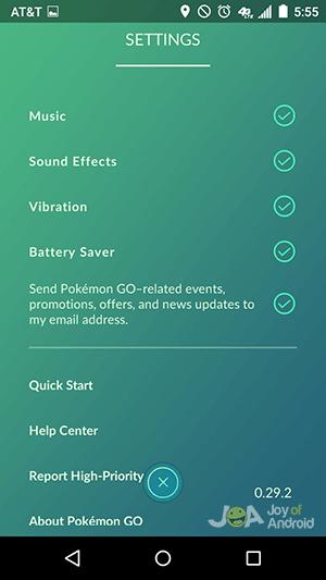 nastavenia - výdrž batérie pokemon go