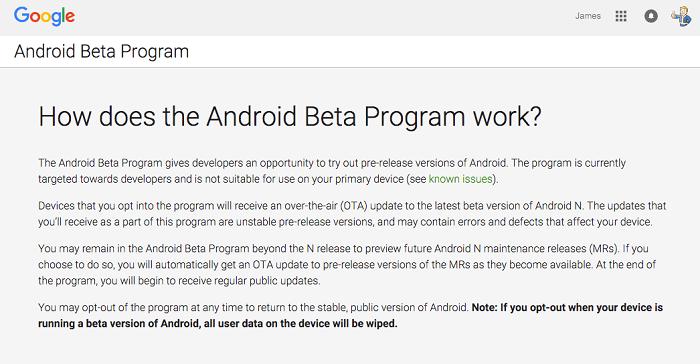 Program Android Beta