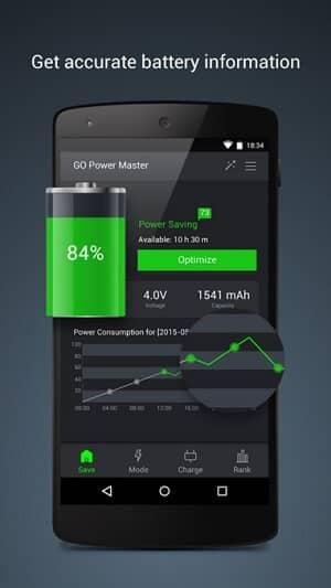 Šetrič batérie a miniaplikácia GO