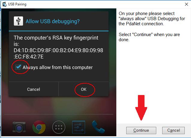 PdaNet USB pokračuje
