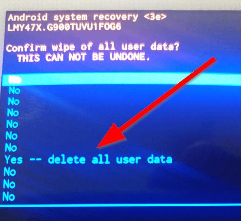 Resetovanie S5 - odstráňte všetky údaje používateľa