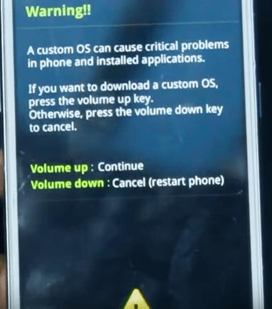 Zakorenenie spoločnosti Samsung Galaxy Grand Prime - Upozornenie na vlastný OS