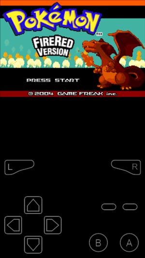 Pokemon  Emulovaná červená hlavná obrazovka