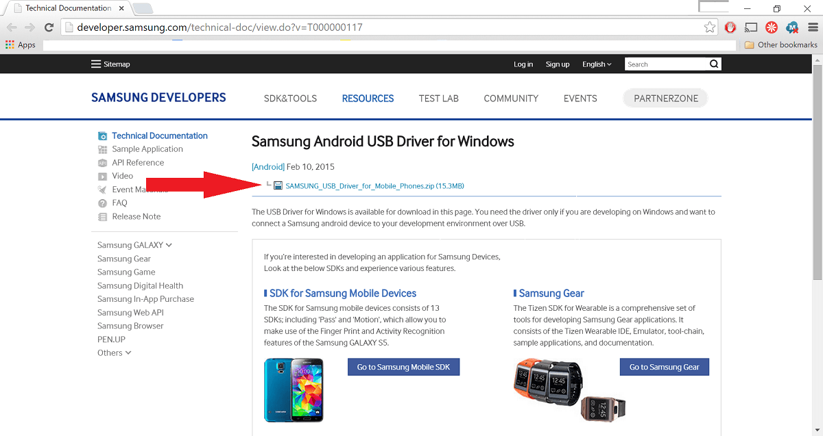 stránka na stiahnutie Samsung