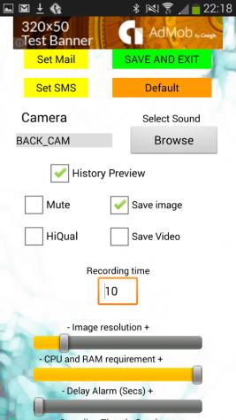 Alarm senzora Spy Nastavenia kamery