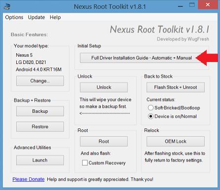 ovládač sady nástrojov nexus root