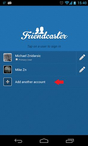 friendcaster pridať účet