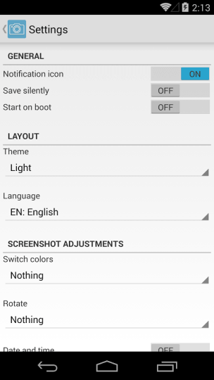 Snímka obrazovky Jednoduché nastavenia
