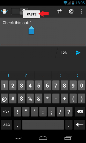 Prilepte text pre Android