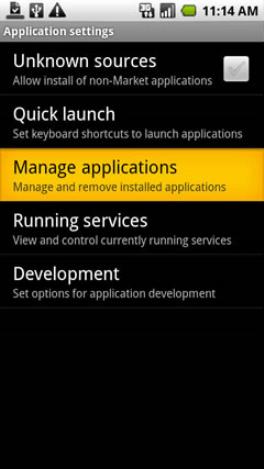 Nastavenia Spravovať aplikácie
