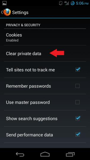 Súkromné údaje Firefoxu