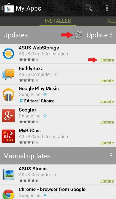 Manuálna aktualizácia Google Play