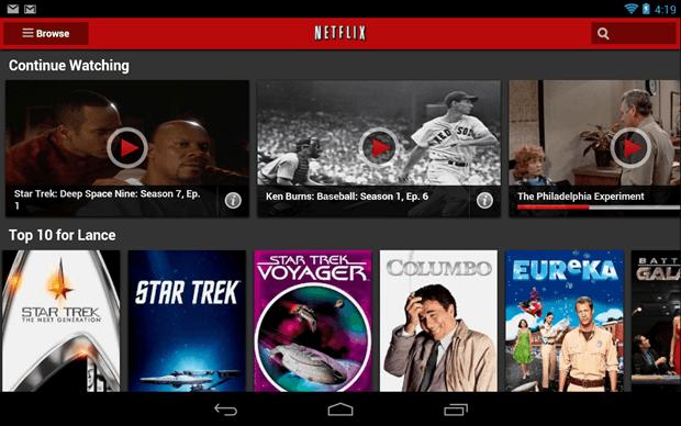 Aplikácia Netflix pre Android